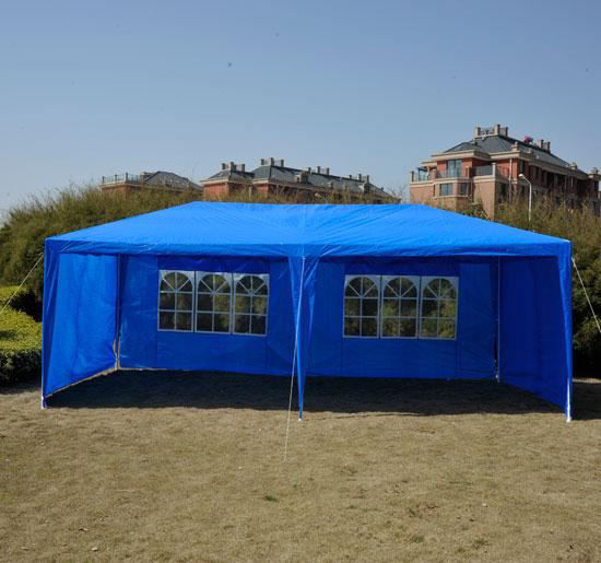 Picture of Outdoor 10' x 20' Gazebo Canopy Tent Blue - with 4 Removable Side Walls