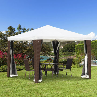 Picture of Outdoor 10' x 10' Rattan Wicker Canopy Tent White with Mesh Walls