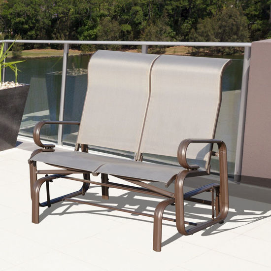 Picture of Outdoor Aluminum Double Glider Rocking Bench Swing