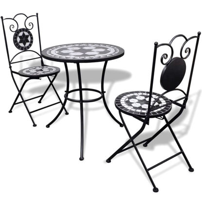 "Picture of Outdoor Bistro Table 23"" with 2 Chairs - Mosaic - Black and White"