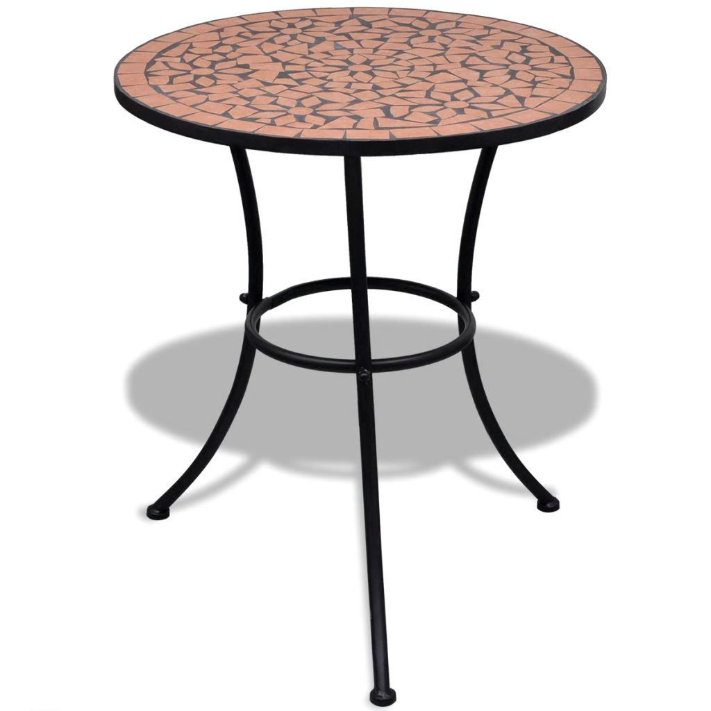 """Picture of Outdoor Bistro Table 23"""" with 2 Chairs - Mosaic - Terracotta"""