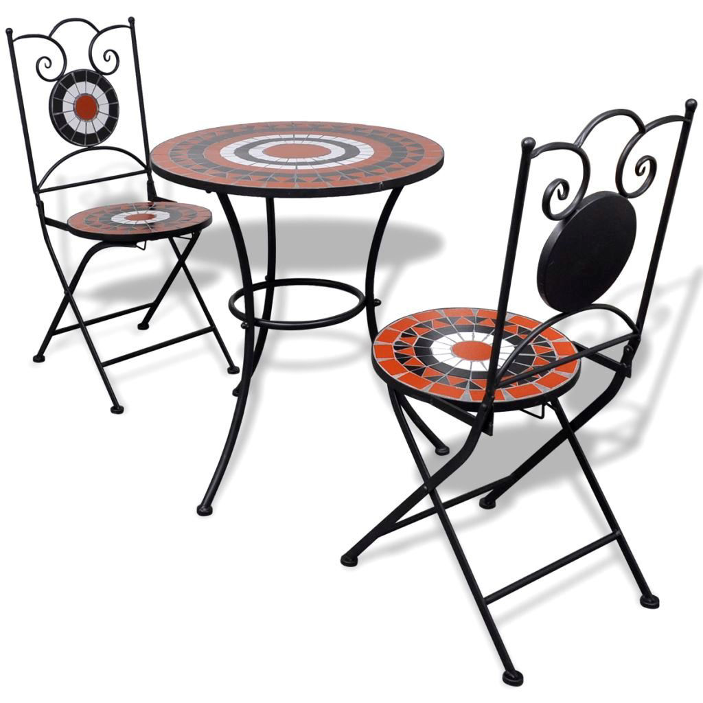 "Picture of Outdoor Bistro Table 23"" with 2 Chairs - Mosaic - Terracotta and White"