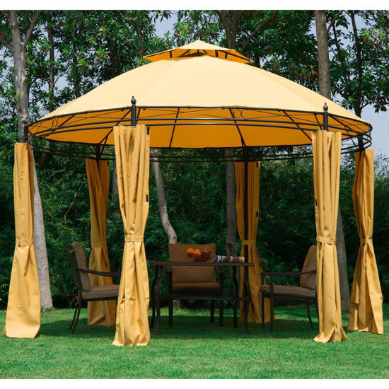 "Picture of Outdoor Canopy Patio Gazebo with Curtains 11"" - Orange"