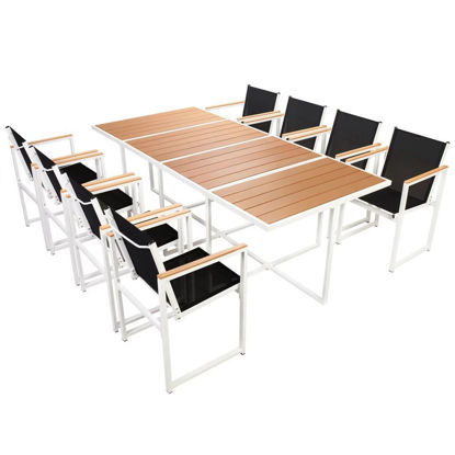 Picture of Outdoor Dining Set - Aluminum - WPC Brown - 9pc