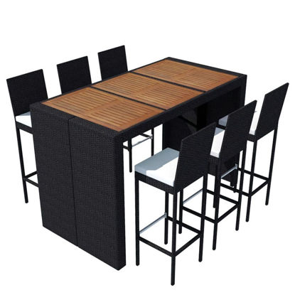 Picture of Outdoor Dining Set - Poly Rattan - Acacia Wood Tabletop