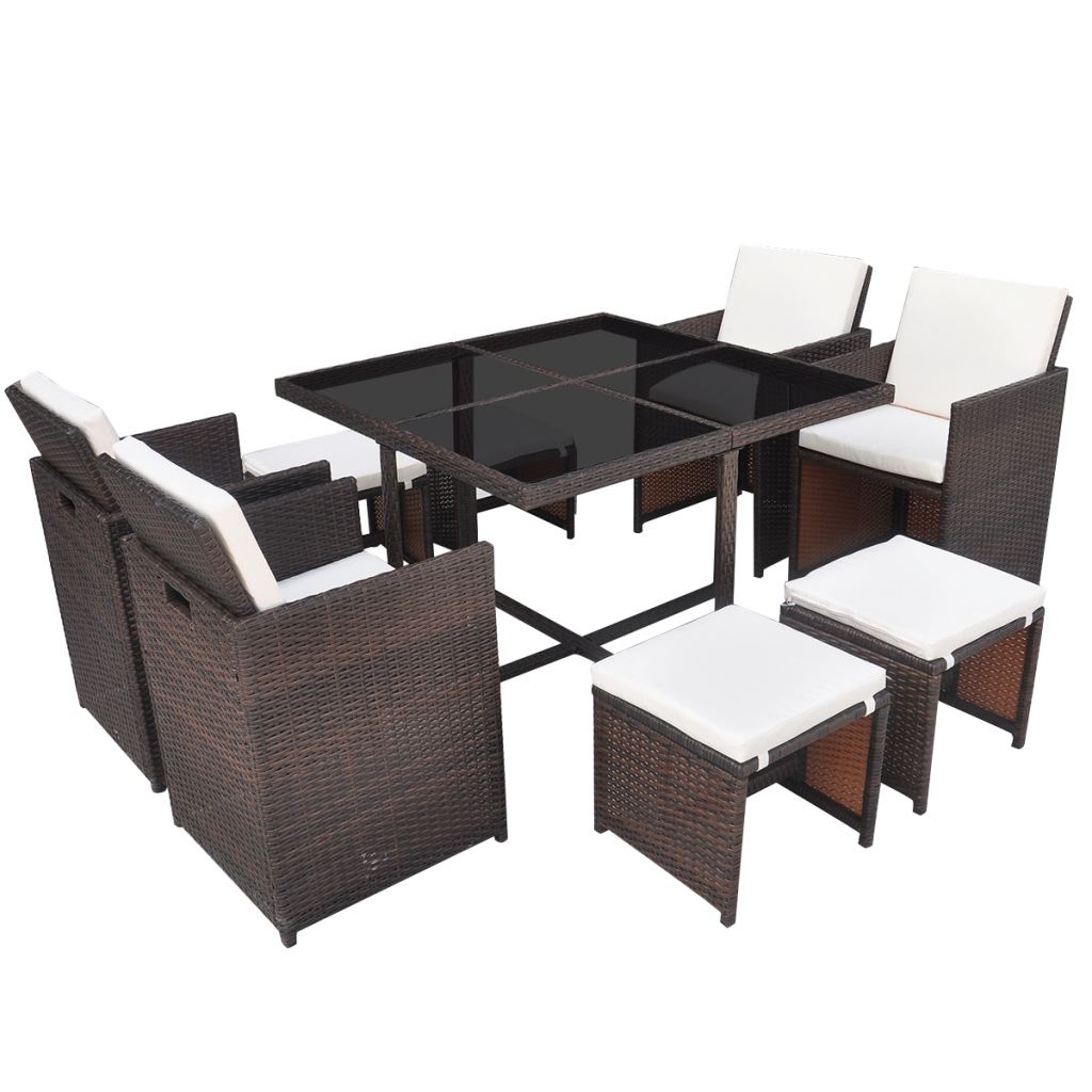 Picture of Outdoor Dining Set Poly Rattan - 21 pcs Brown
