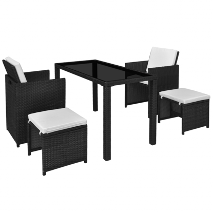 Picture of Outdoor Dining Set Poly Rattan - Black 11 Pcs