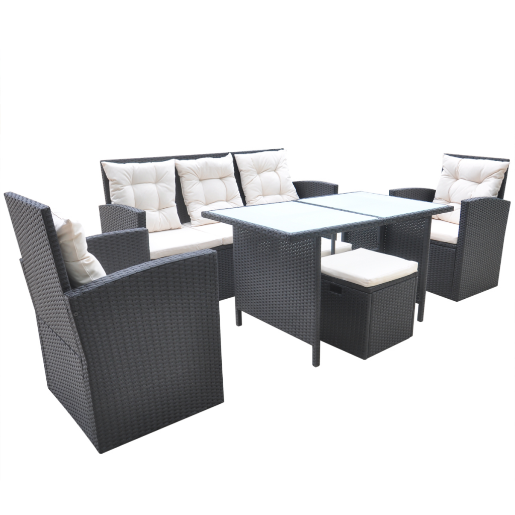 Picture of Outdoor Dining Set Poly Rattan - Black 18 Piece