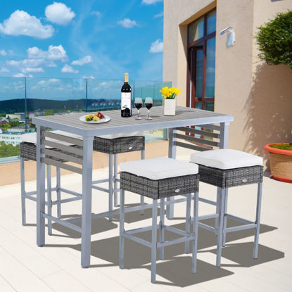 Picture of Outdoor Dining Table Set - 5 pcs Gray