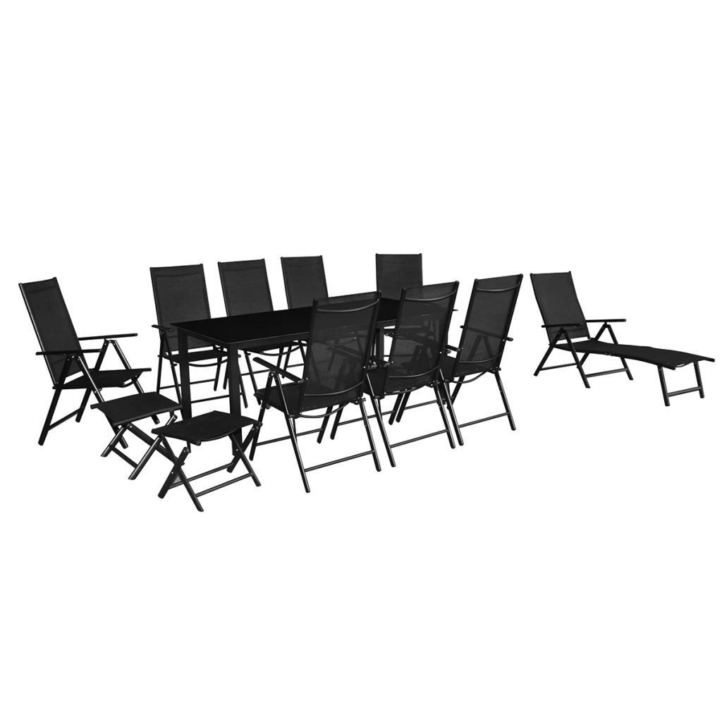 Picture of Outdoor Folding Aluminum Dining Set 12pc - Black
