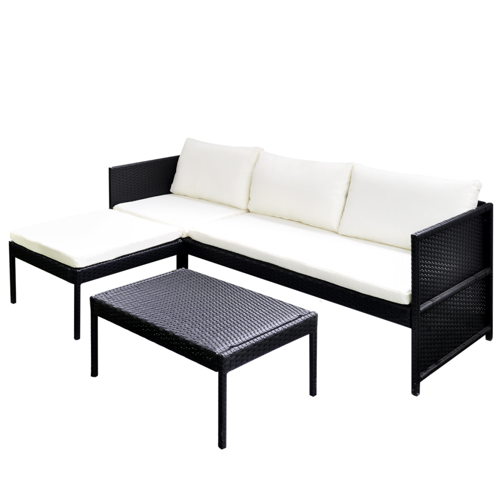 Picture of Outdoor Furniture 3-Seat Sofa Lounge Set Rattan Wicker - Black
