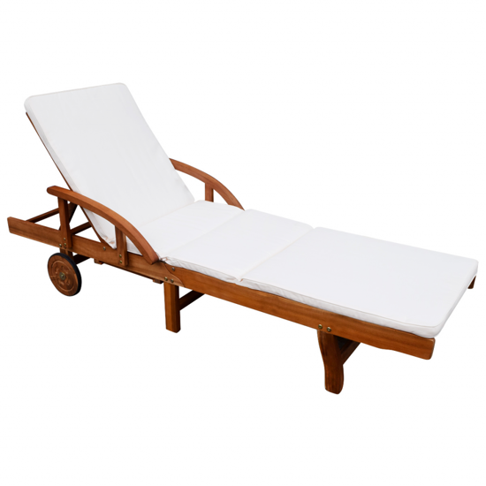 Picture of Outdoor Furniture Chaise Daybed Sun Lounger with Cushioned Footrest - Acacia Wood