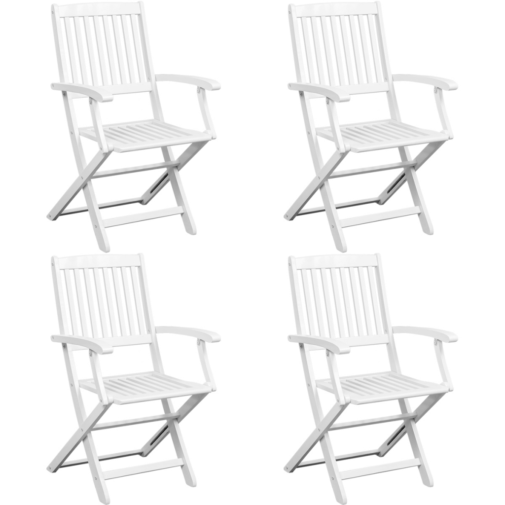 Picture of Outdoor Furniture Dining Set - Set of 5 Acacia Wood White
