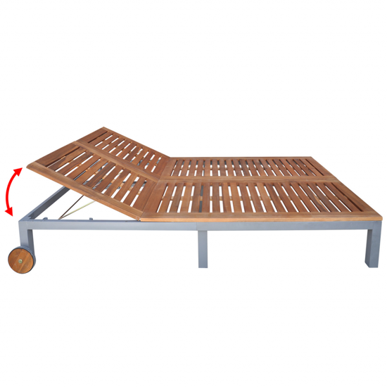 Picture of Outdoor Furniture Double Chaise Daybed Sun Lounger - Acacia Wood