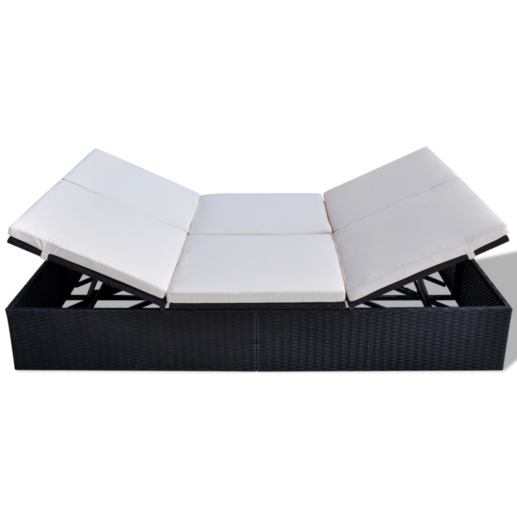 Picture of Outdoor Furniture Double Sofa Bed Sunlounger Poly Rattan - Black