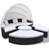 Picture of Outdoor Furniture Round Sofa Sunbed Set with Canopy - Brown