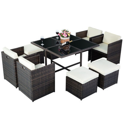 Picture of Outdoor Furniture Set With Ottoman - 9 Pieces