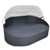 Picture of Outdoor Furniture Sofa Bed Sun Lounger with Canopy Poly Rattan - Black