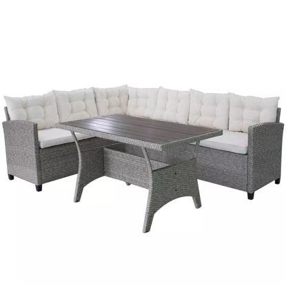 Picture of Outdoor Garden Corner Sofa Set - Poly Rattan - Gray