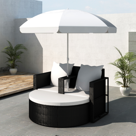 Picture of Outdoor Sunbed with Umbrellas - Black