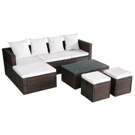 Picture of Outdoor Garden Lounge Set - Poly Rattan - Brown