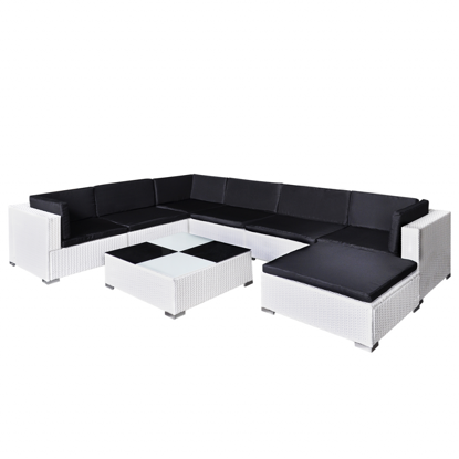 Picture of Outdoor Garden Patio Furniture Lounge Seat Set Poly Rattan - White 8 Pcs