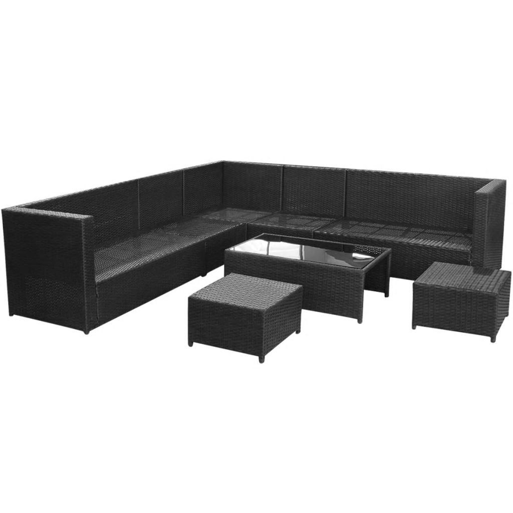 Picture of Outdoor Garden Sofa Set - Poly Rattan - Black