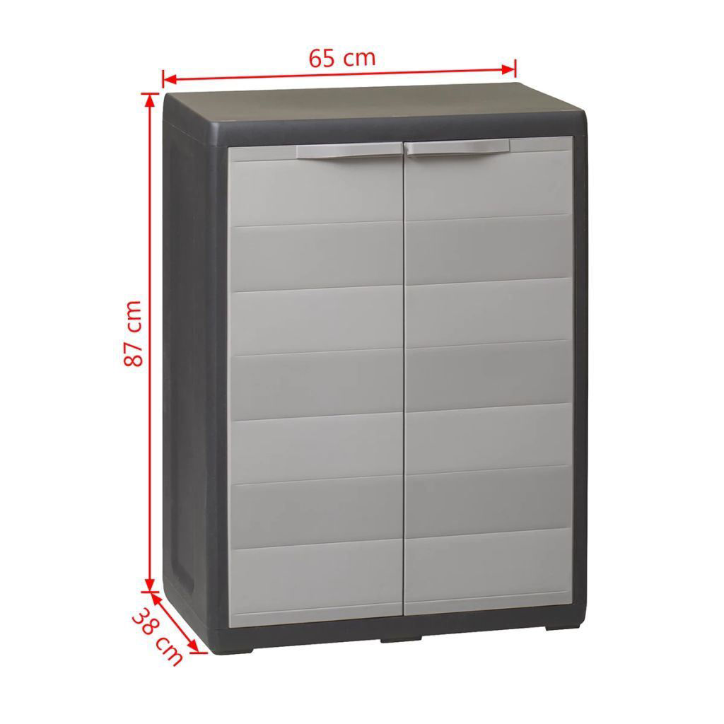 Picture of Outdoor Garden Storage Cabinet with 1 Shelf - Black and Gray