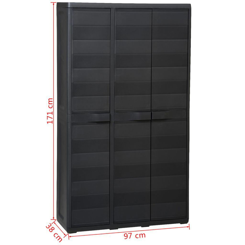 Picture of Outdoor Garden Storage Cabinet with 4 Shelves - Black