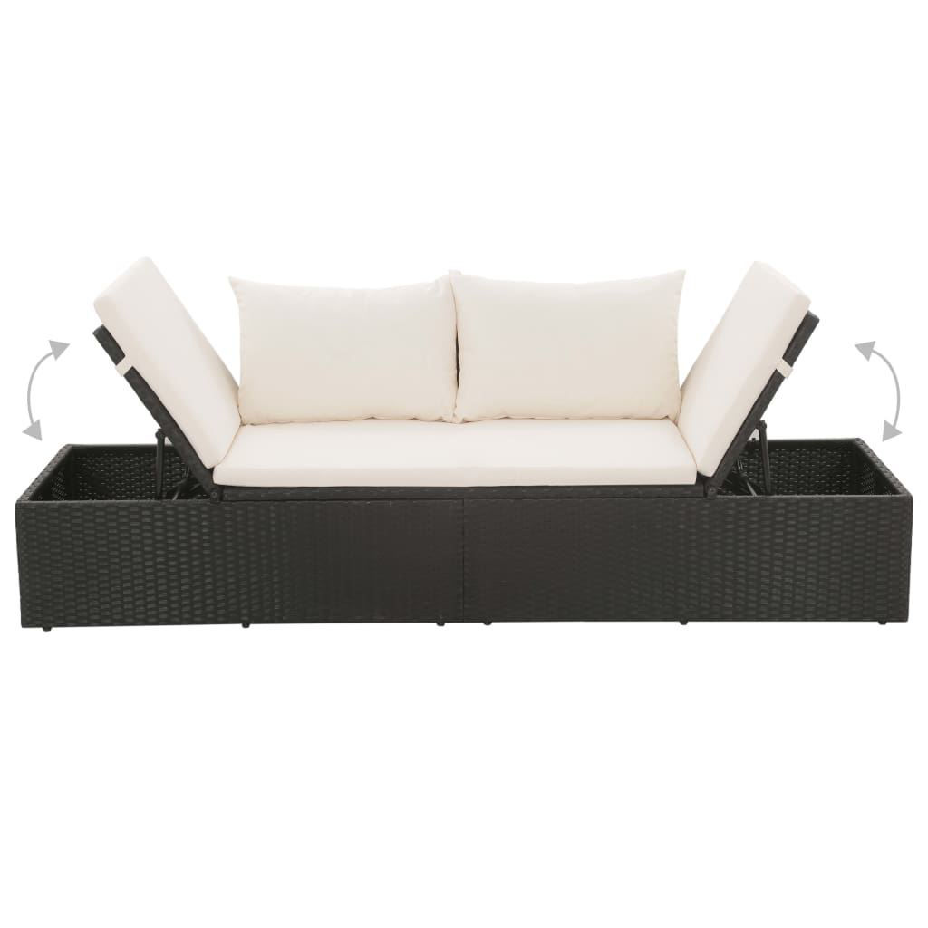 """Picture of Outdoor Lounge Bed 76"""" - Poly Rattan - Black"""