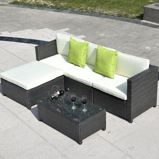 Picture of Outdoor Patio Furniture Set Wicker Rattan - 5 Pcs