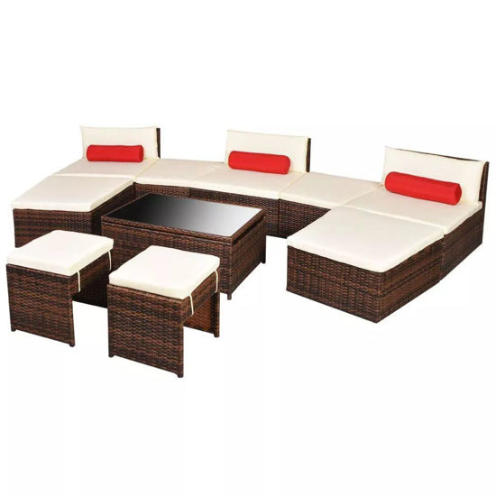 Picture of Outdoor Modular Garden Lounge Set - Poly Rattan - Brown