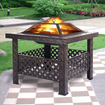 """Picture of Outdoor Patio 26"""" Metal Firepit Square Stove Fire Pit Brazier"""