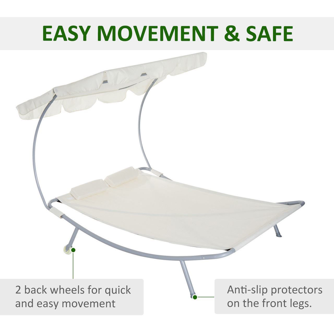 Picture of Outdoor Patio 2-Person Hammock Sunbed Lounger - Cream