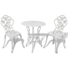Picture of Outdoor Patio Furniture Bistro Set Antique Rose Design Cast Aluminum - White
