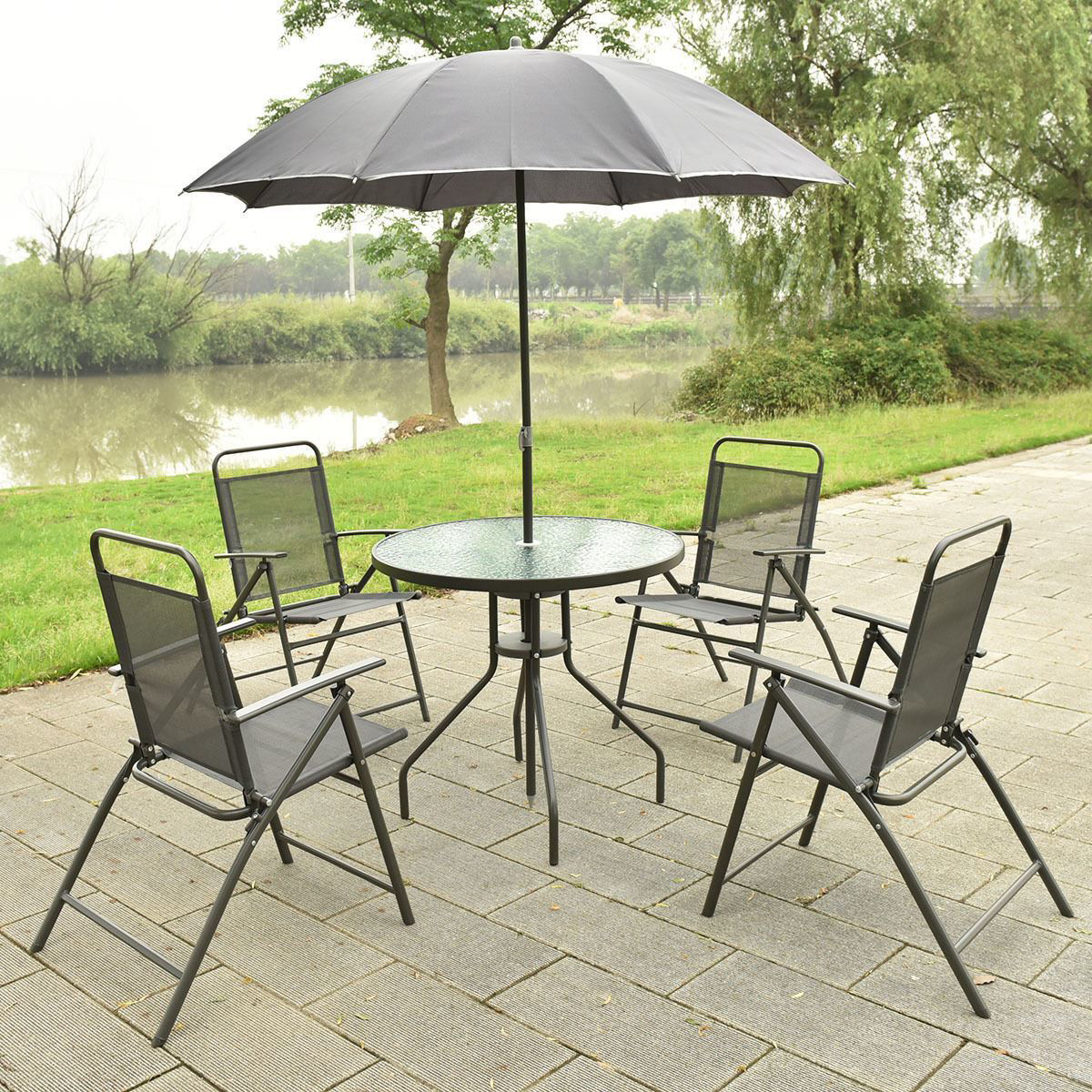 Picture of Outdoor Patio Furture Set Table with 4 Folding Chars and Umbrella Gray 6 Pieces