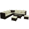 Picture of Outdoor Patio Garden Furniture Sofa Seat Set Poly Wicker Rattan - Brown 8 pcs