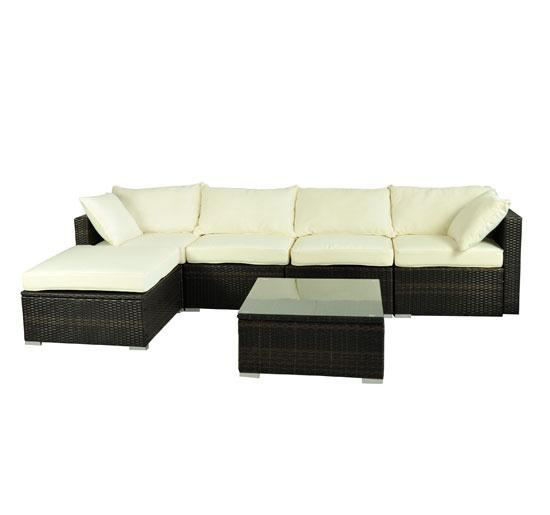 Picture of Outdoor Rattan Garden Wicker 6 Pieces Sofa Sectional Patio Furniture Set