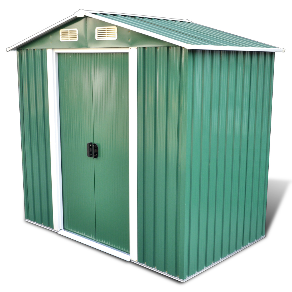Picture of Outdoor Storage Shed Apex Roof Metal Including Foundation 95.3 f3 - Green This