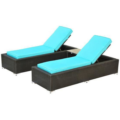Picture of Outdoor Wicker Patio Chaise Lounge Chair Set with Table - 3 pcs