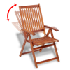 Picture of Outdoor Wooden Dining Set 6 Adjustable Chairs + 1 Extension Table