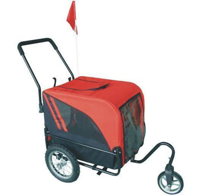 Picture of Pet Dog Stroller with Swivel Wheel and Bike Trailer - Red / Black