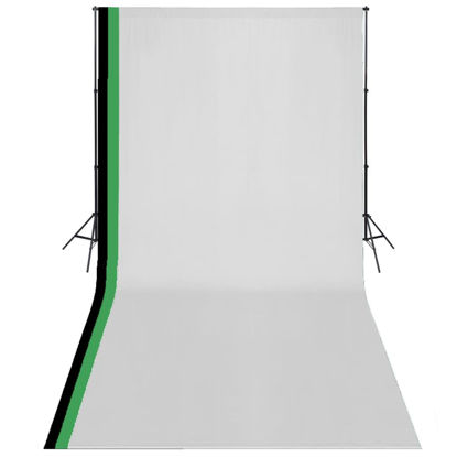 Picture of Photo Studio Kit 3 Cotton Backdrops Adjustable Frame 10x20 ft