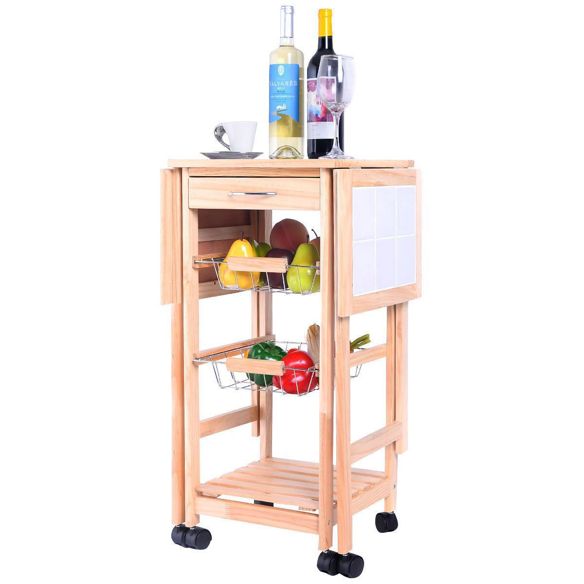 Picture of Portable Kitchen Dining Trolley Cart Stand