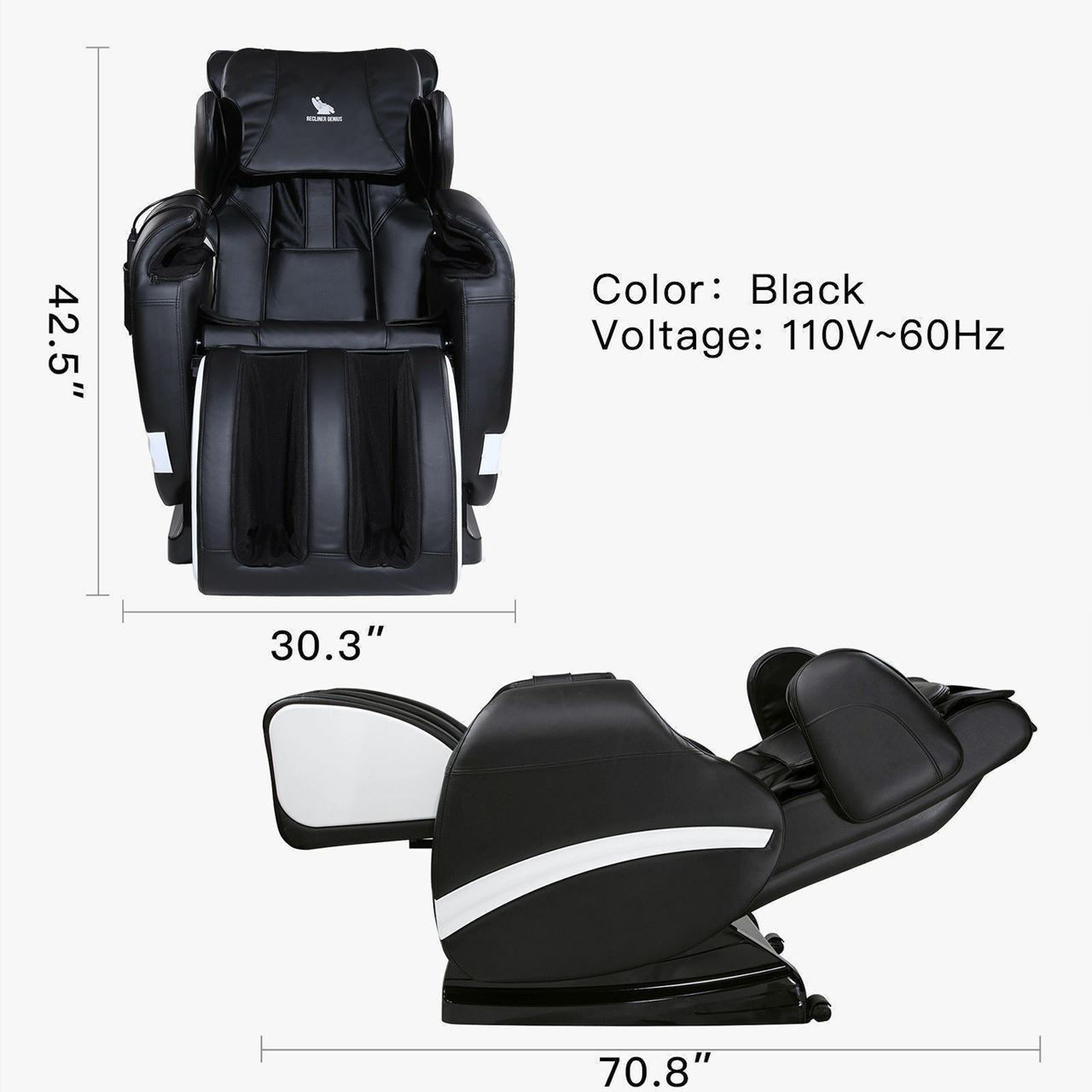 Picture of Recliner Massage Chair with Heat Zero Gravity - Black