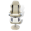 Picture of Recliner TV Armchair Artificial Leather with Footstool - Cream and Brown