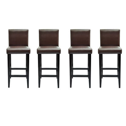 Picture of Set of 4 Modern Brown Artificial Leather Bar Stools
