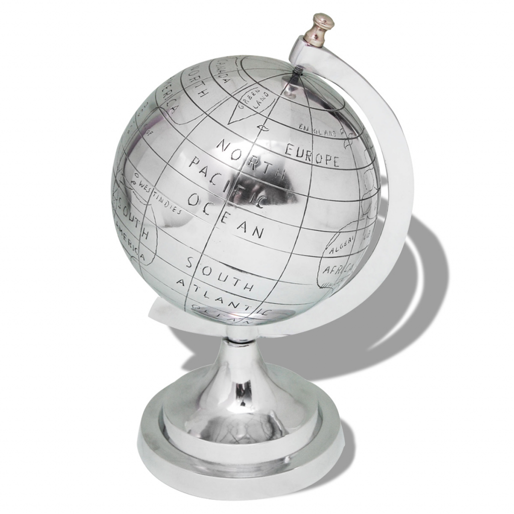 """Picture of Silver Globe with Stand - 13"""""""