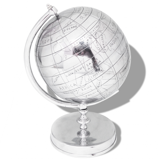 """Picture of Silver Globe with Stand - 16"""""""