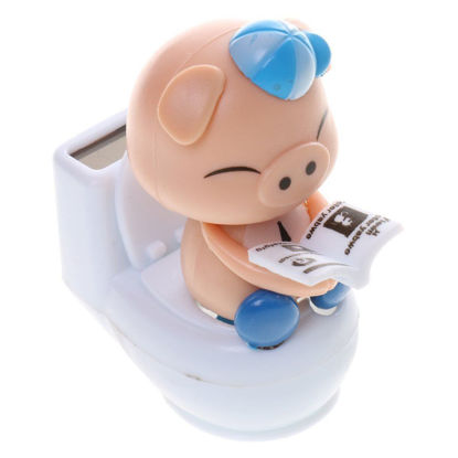 Picture of Solar Powered Flip Flap Dancing Bobble Head Pig Toy Blue